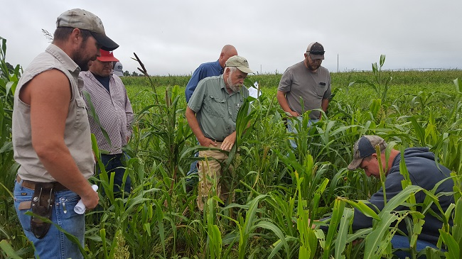 Jeff Brawner, right, examines his soil structure in an irrigated grazing system.