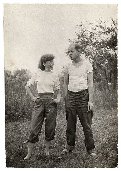 "Lee Krasner & her husband - Although they started as a dynamic artistic duo, by the end of Jackson Pollock's life, they had grown to a gruesome twosome.Lee Krasner on her painting: ""I will always be Mrs. Jackson Pollock -that's a matter of fact - but I painted before Pollock, during Pollock, after Pollock.""Pollock on Krasner's painting: ""She's fooling around, kind of an offshoot of me, and I wish she'd stop."""