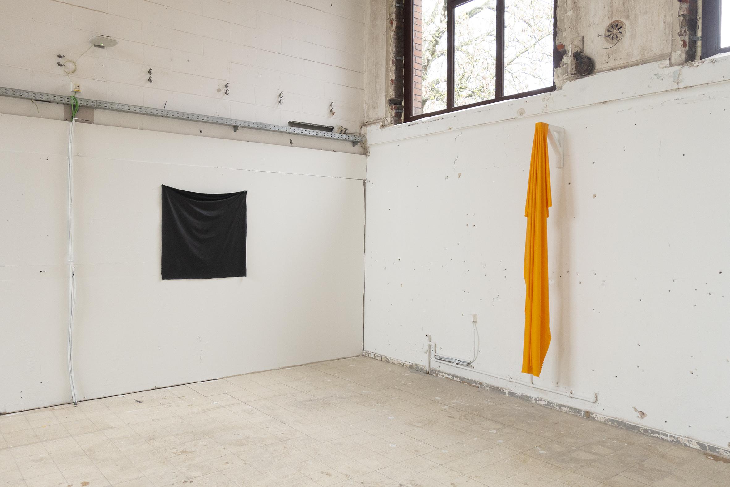 """Malevitch"", acrilic, 120 x 120 cm. ""Marsyas"", acrilic, 200 x 20 cm."
