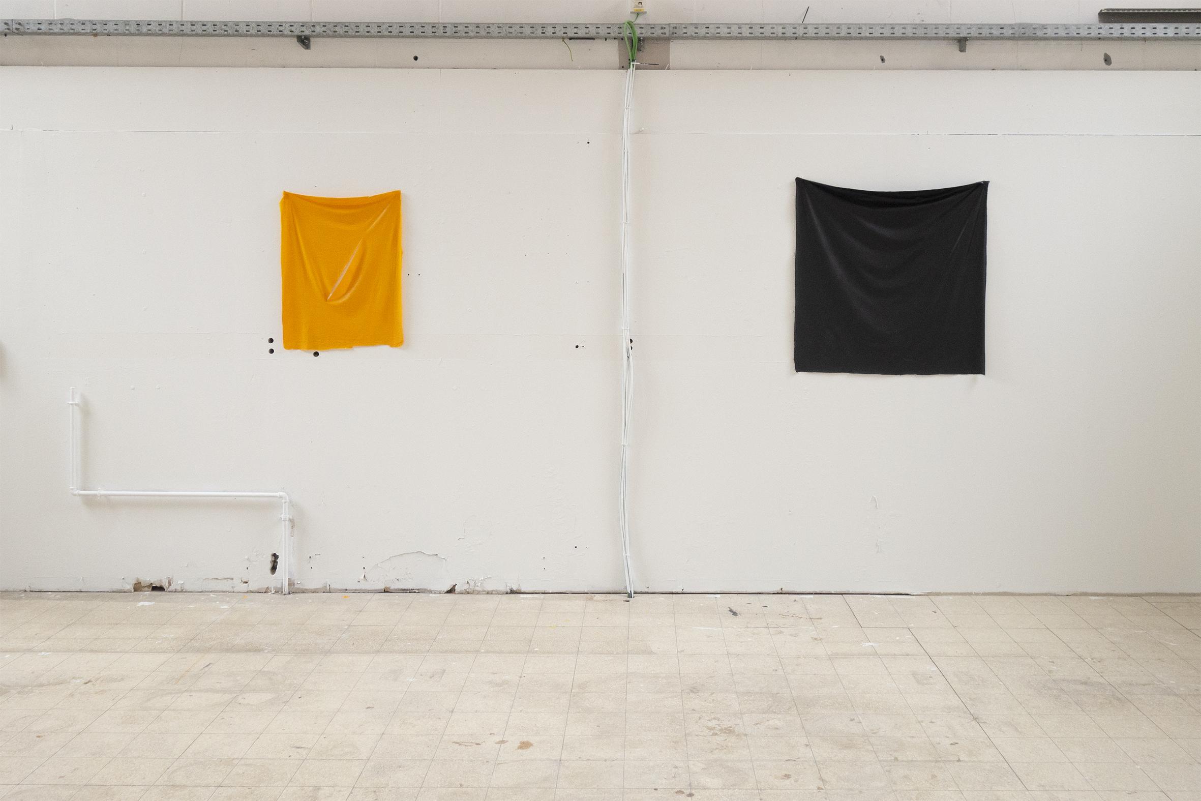 """""""Fontana"""", acrilic, 80 x 60 cm. """"Malevitch"""", acrilic, 120 x 120 cm."""