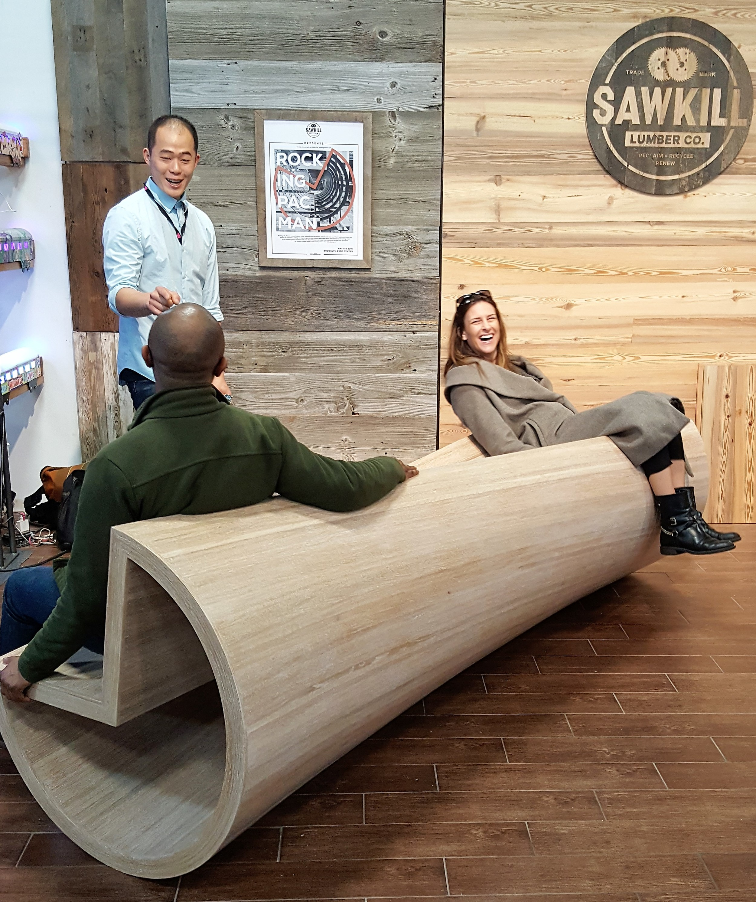 CATEGORY: GREEN SENSIBILITY  Rocking PacMan bench by Louis Lim for Sawkill
