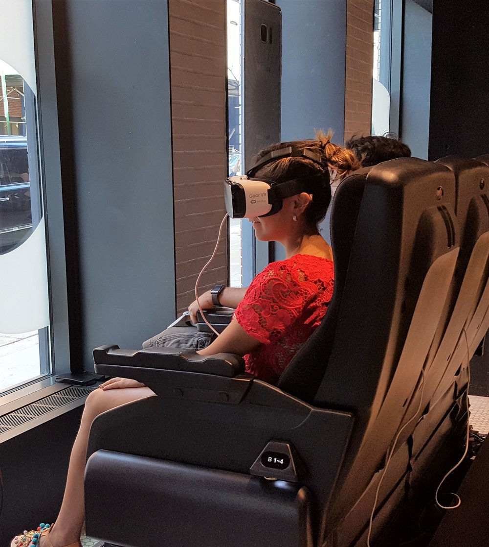 One of several virtual reality experiences at Samsung's 837 store.