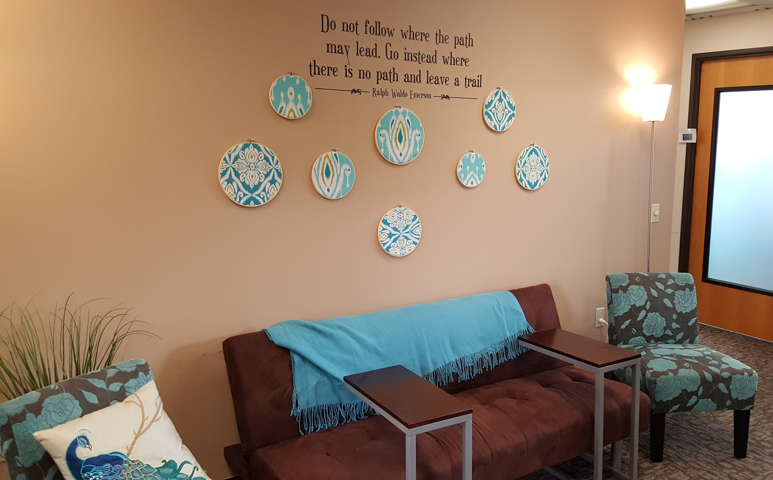 Inspirational quotes and peacock motifs (a symbol of the Hera's Greek Goddess of women, luxury, beauty and immortality, are found throughout the space.