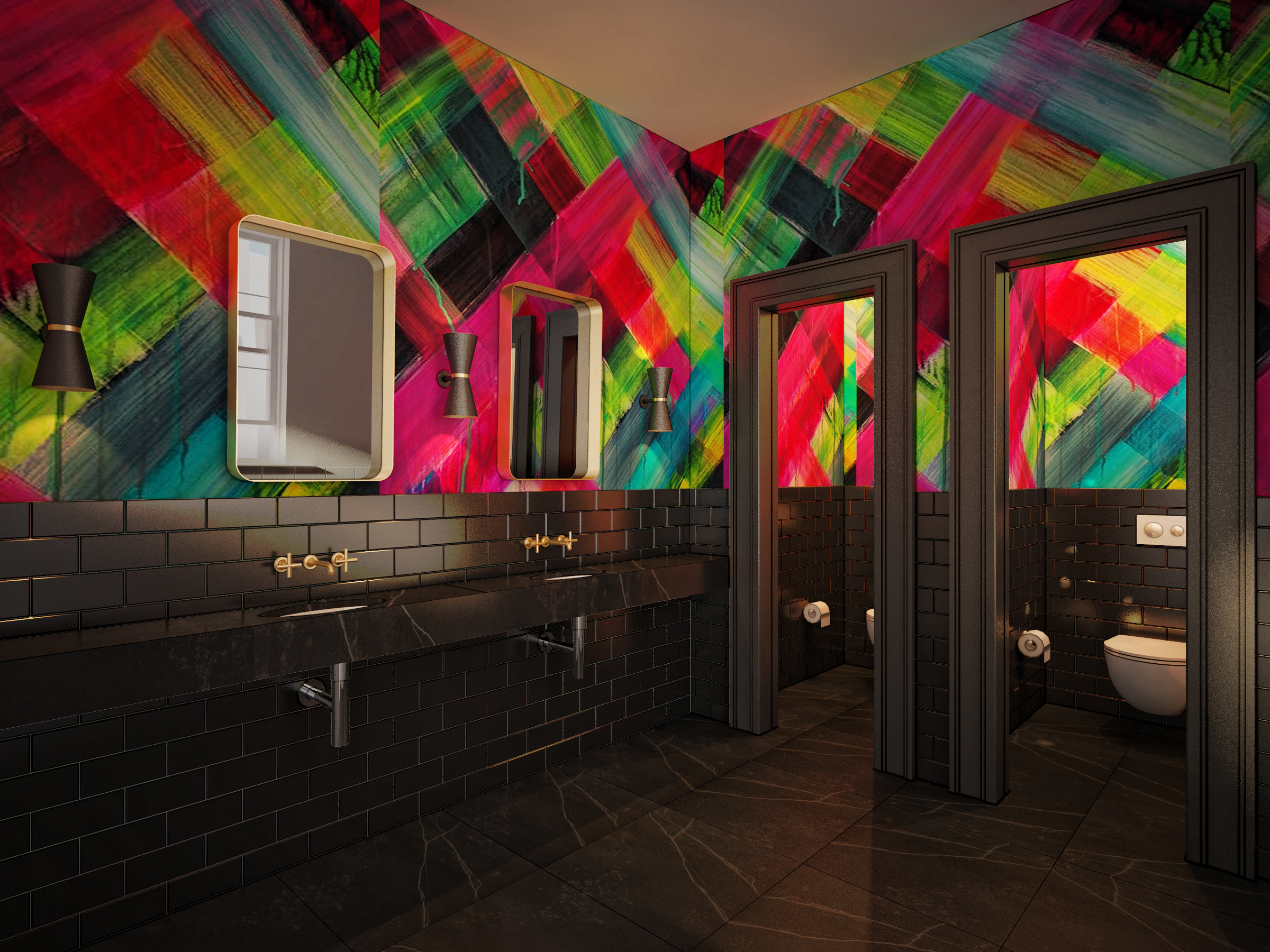 Iconic headquarters: Even bathrooms can express vibrant maximalism.