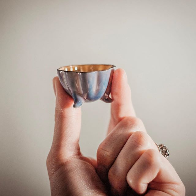 The cutest little dish I ever did see! 🤗 Though we don't tend to use salt cellars much nowadays, these precious ceramic pieces make excellent ring dishes or gift boxes! . We work hard to research every item to better tell their stories, and we find value in discovering possible new purposes too. Creativity is sustainability! ♻️ . . . #revivalstudioco #antique_r_us #antiqueshops #jewelrybox #giftboxes #giftboxideas #repurposed #ringholder #ringdish #ringdishes #weddingflatlay #propstyling #stylingprops #foodstyling #saltcellars #luster #lusterware #vintagedecor #vintageshop #shopvintage #vintageaddict #antiquejewelryaddiction
