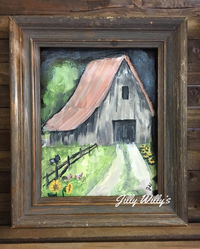 Country Living - This was one of my favorite paintings. I added my little goat, Sugar, to the left in the field, our chickens up front, our sunflowers and loofah's growing.