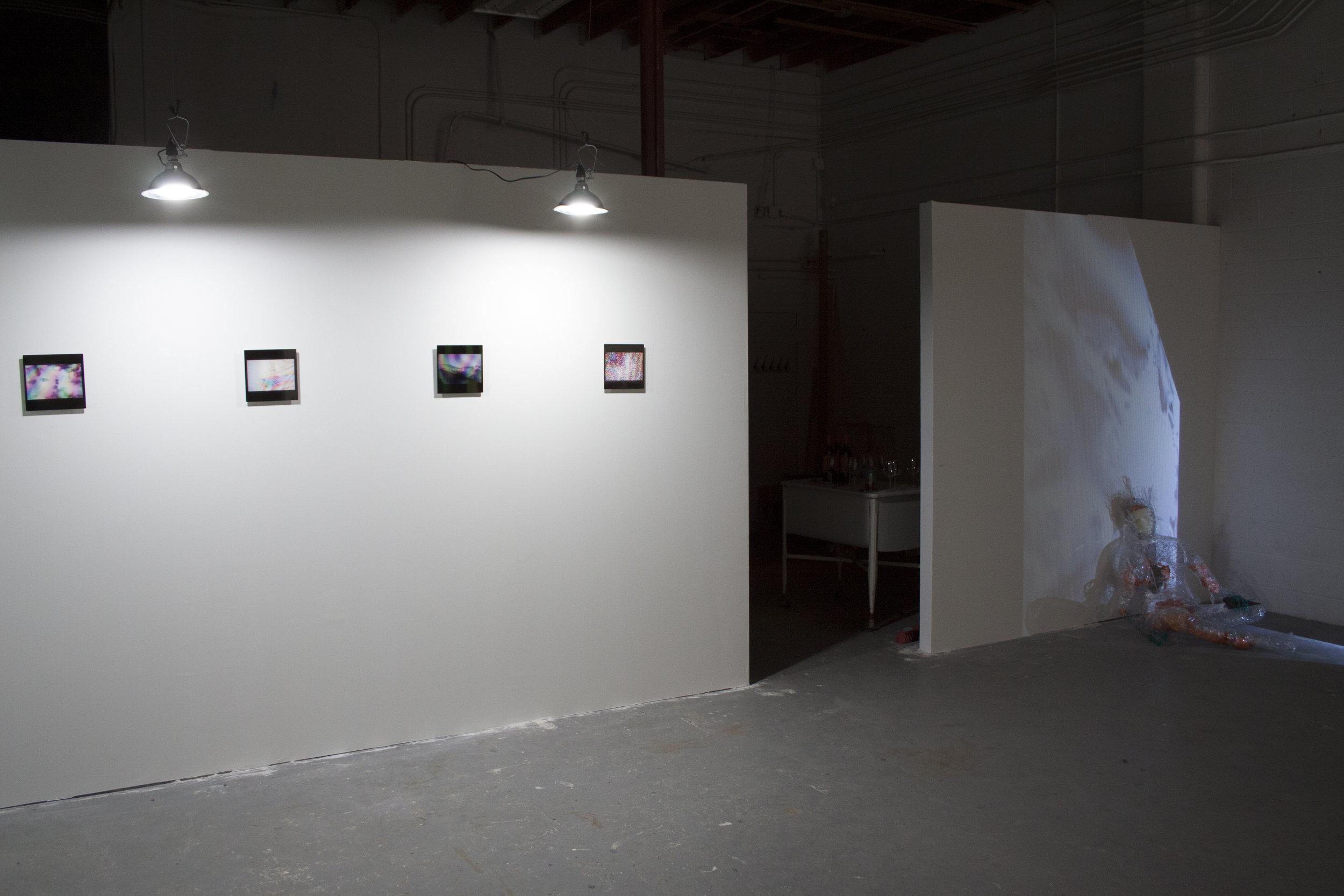 Installation view, Ephemera series (left) and I/O (right)