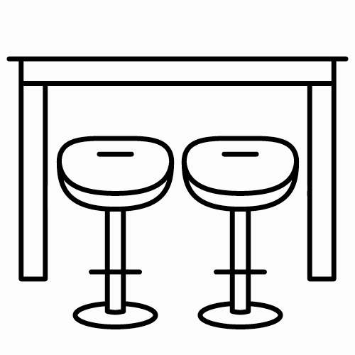 Check in desk with 2 stools -