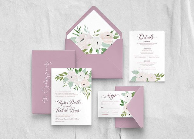 Celebrating our sweet friends Alyssa + Bobby today! Happy wedding day, you two! . . . #clewedding #weddinginvitations #floral #cle #invitations