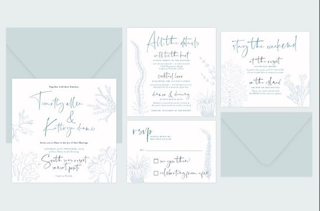 Happy Monday, friends! We're coming off of a nice little vacay out of the office from celebrating a special couple who just tied the knot in FL. Sharing their elegant coastal suite today because the entire day was oh so dreamy! Now, back to our favorite thing — designing! . . . #beachwedding #captiva #florida #weddingstationery #destinationwedding #cle