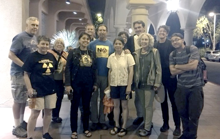 Interstate solidarity against consolidated interim storage (CIS) – activists from New Mexico, Texas and California. (from left) Ace Hoffman(CA), Sharon Hoffman(CA), Rosemary Blanchard, Leona Morgan, Nick Maxwell, Noel Marquez, Hanh Nguyen, Sue Schuurman ( behind Hanh next to Torgen) Torgen Johnson(CA), Robin Seydel, Cal McManus, Cody Slama. Photo: Anon.