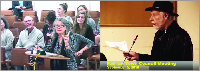 MB describes documented health impacts of EMF to the Marin County Board of Supervisors  Jim advocates for a safer alternative to 5G, municipally owned optical fiber networks at a Fairfax City Council meeting. (Public video frame grabs.)