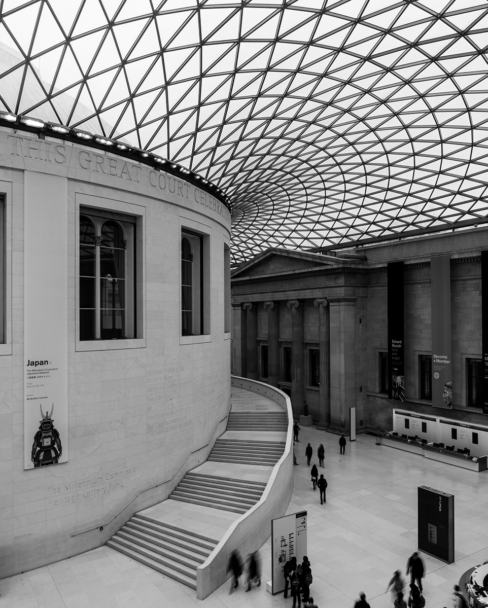 Black and white image of the Grand Court inside the British Museum