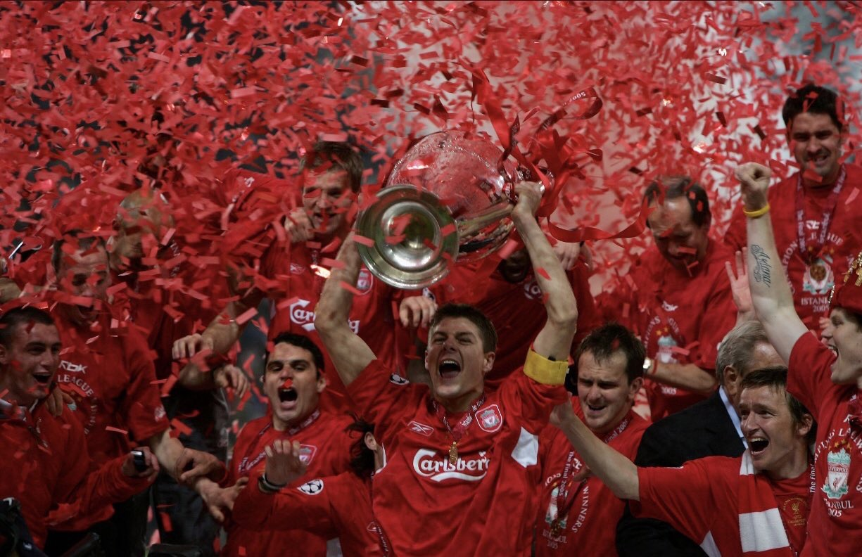 Captain Steven Gerrard lifting the Champions League trophy in Istanbul