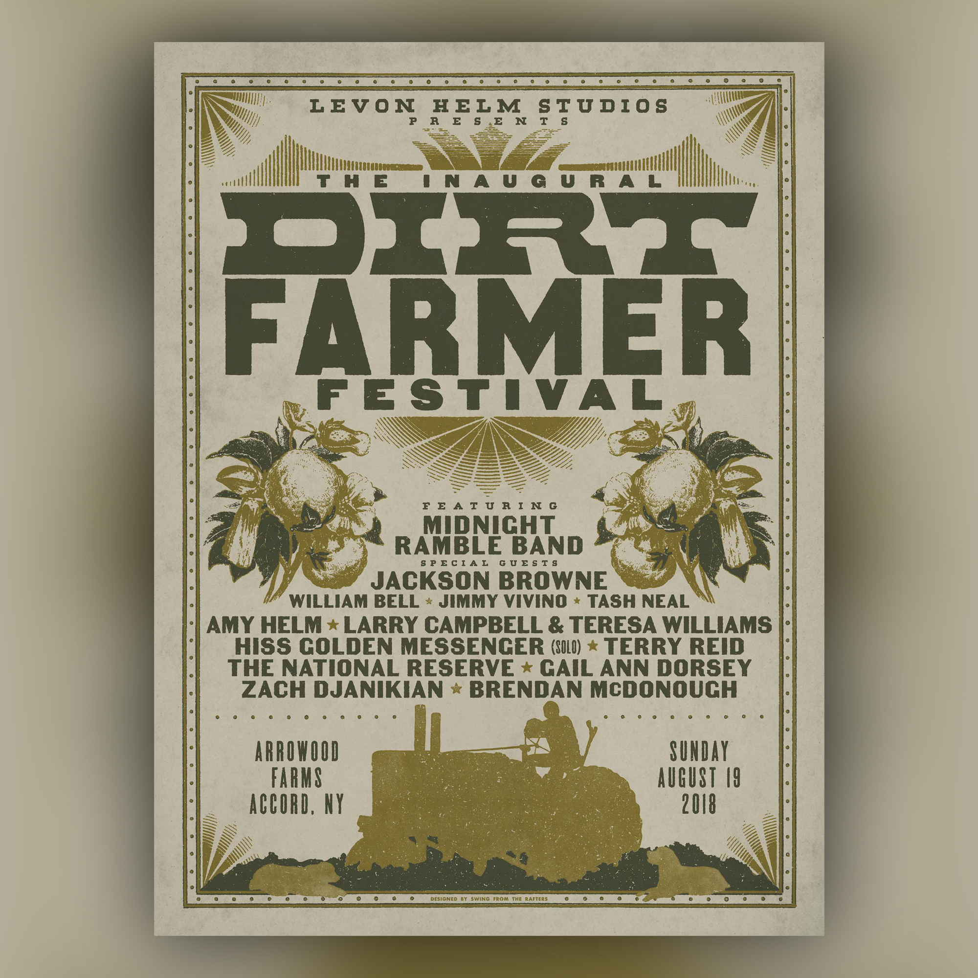 """Get your Limited EditionDirt Farmer Festival 2018Screen Printed Poster - Limited edition 18""""x24"""" screen printed poster from the inaugural Dirt Farmer Festival on 8/19/18 at Arrowood Farms, designed by Swing From The Rafters and printed by The Turning Mill."""