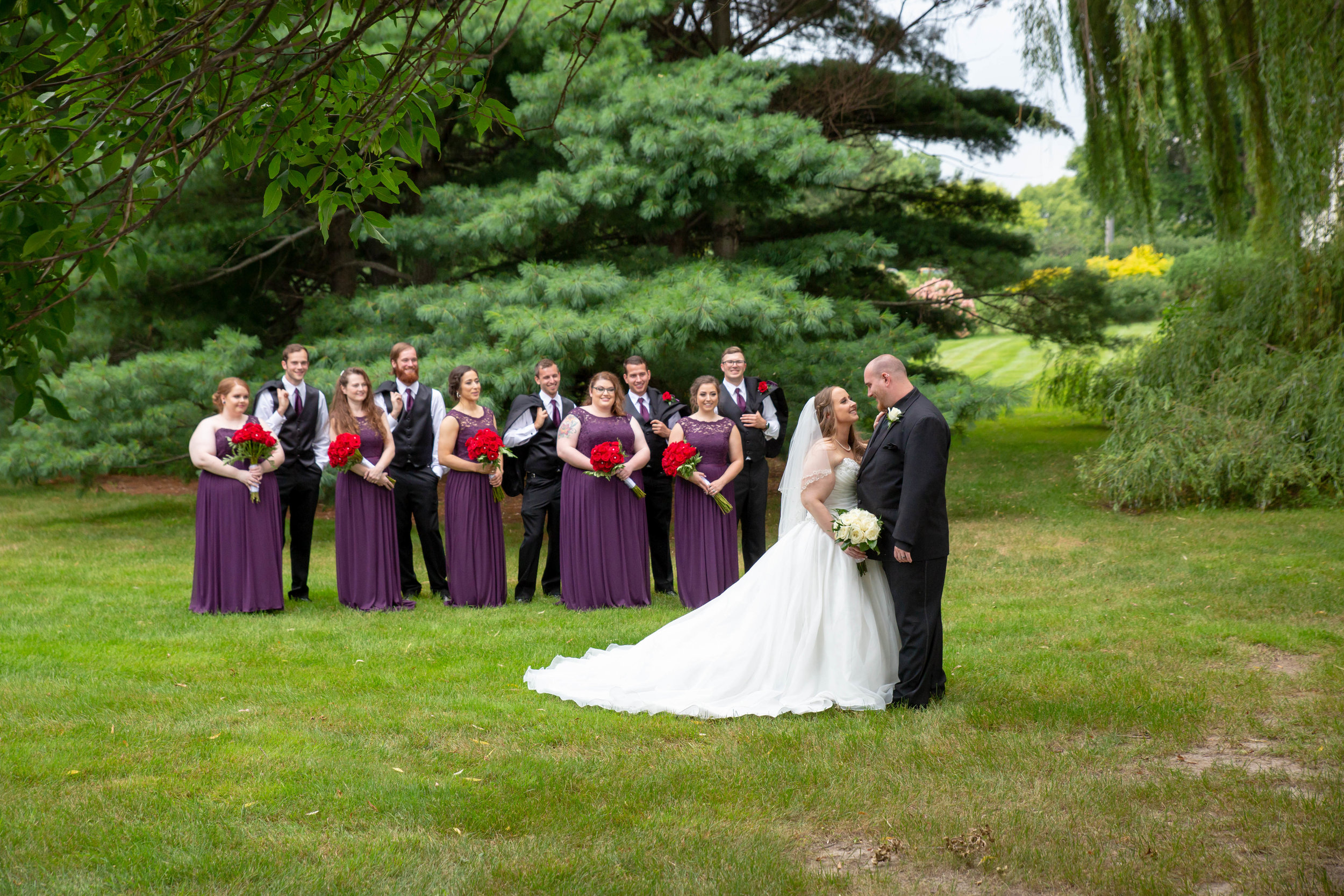 Cindyrella's Garden, Fab Weddings, outdoor Minnesota ceremony, Rosemount wedding, south metro, bridesmaids with red rose bouquets