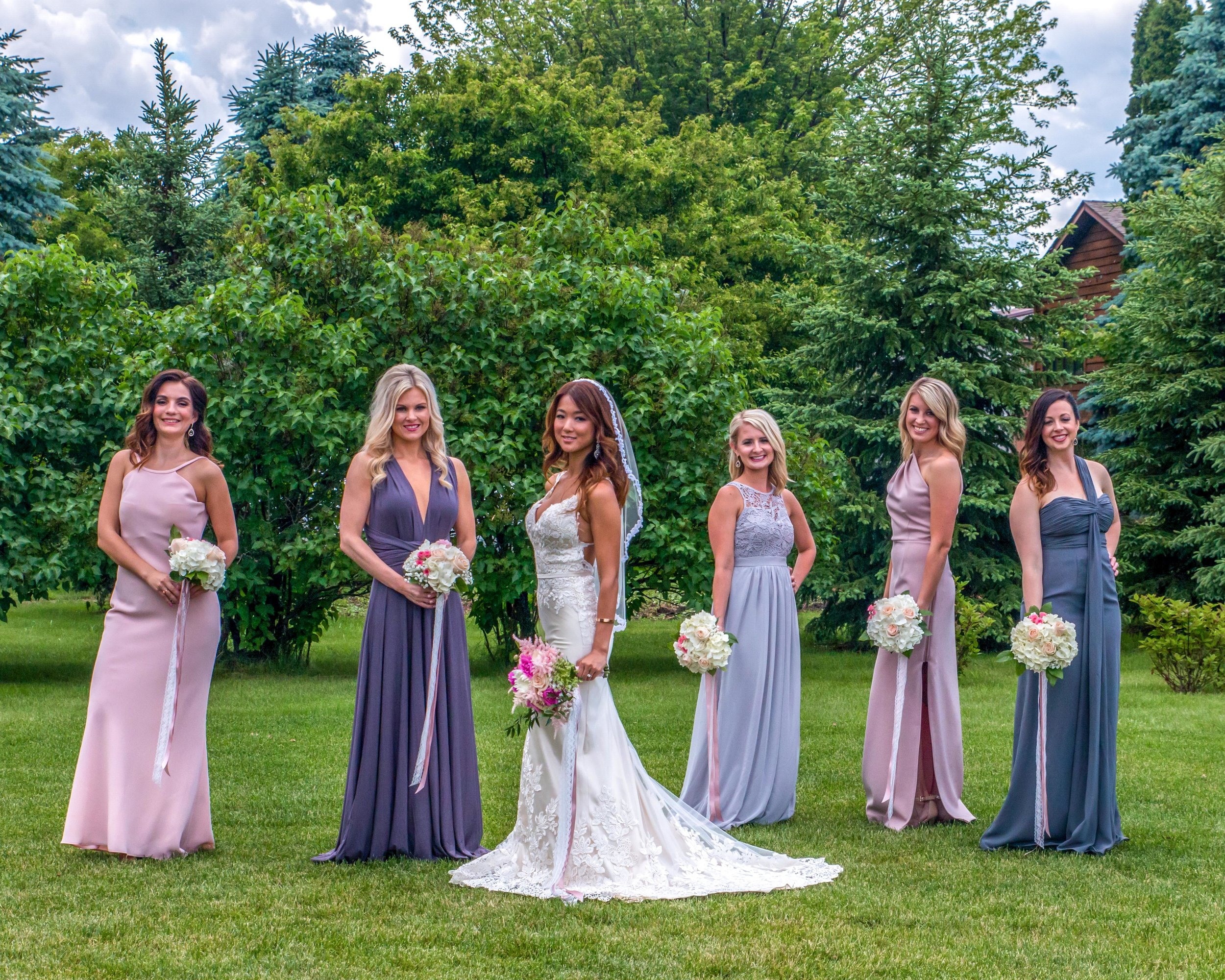 Minnesota Wedding at Glenhaven, outdoor ceremony, Fab Weddings, mismatched bridesmaids