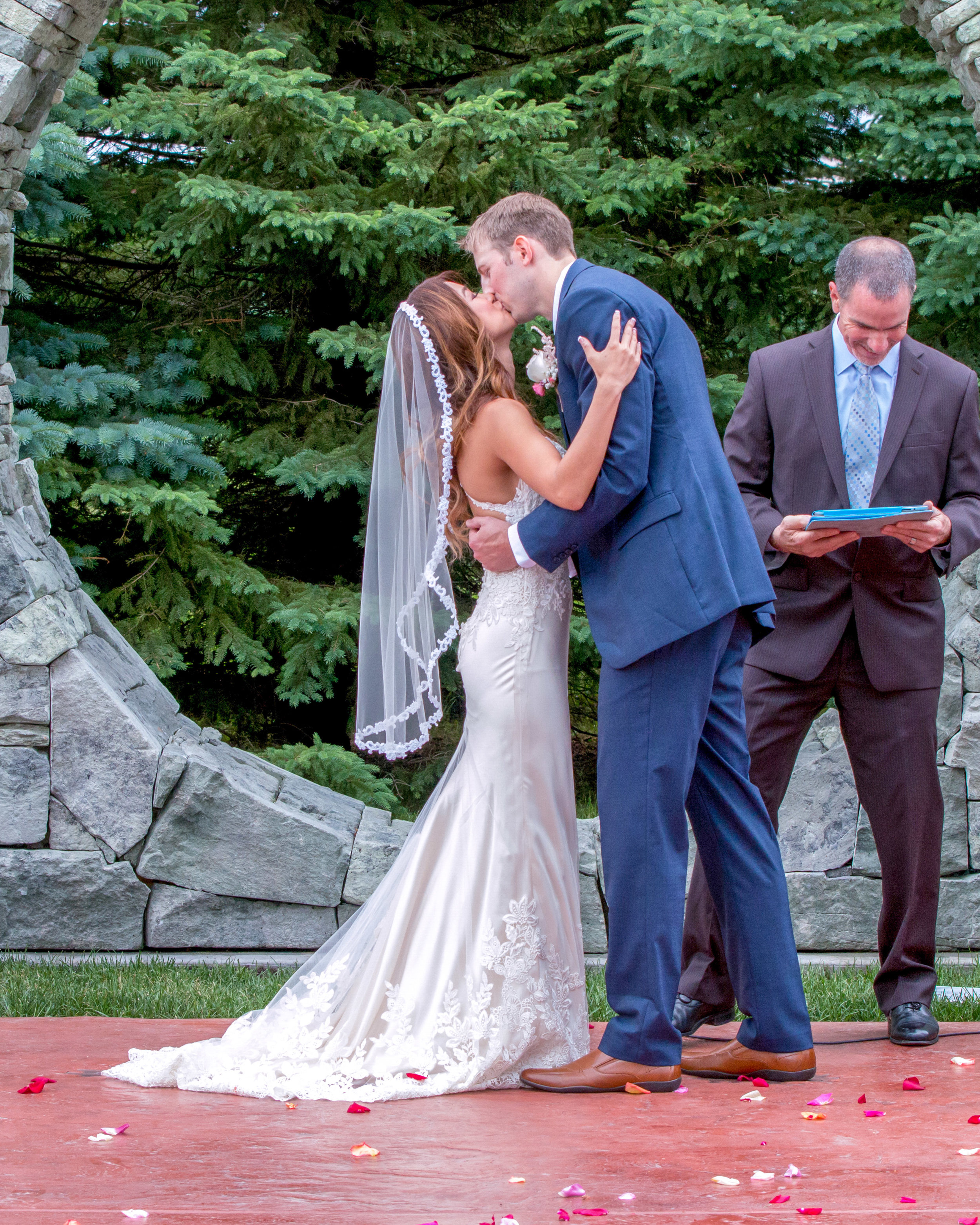 Minnesota Wedding at Glenhaven, outdoor ceremony, Fab Weddings, first kiss