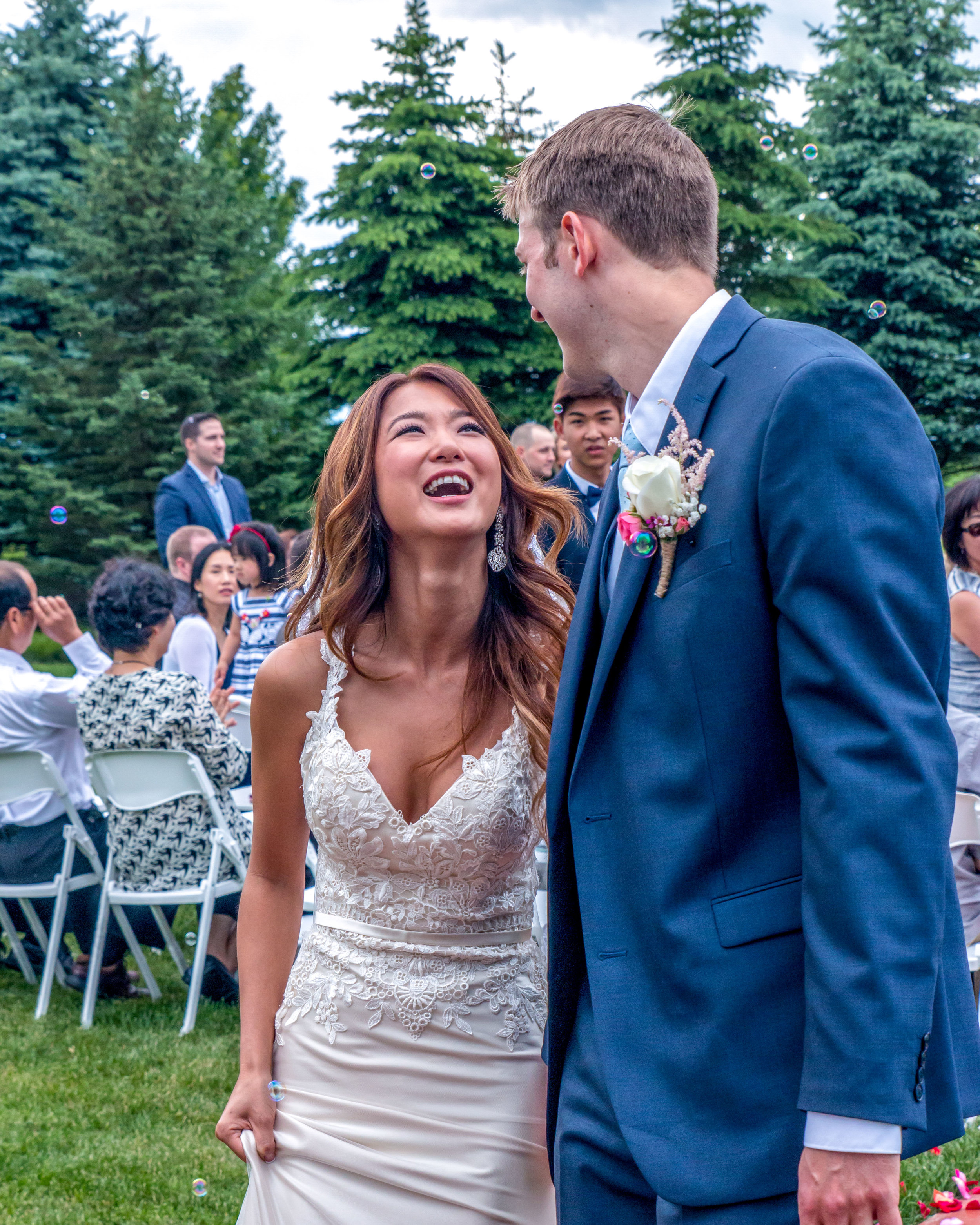 Minnesota Wedding at Glenhaven, outdoor ceremony, Fab Weddings, ceremony laughs