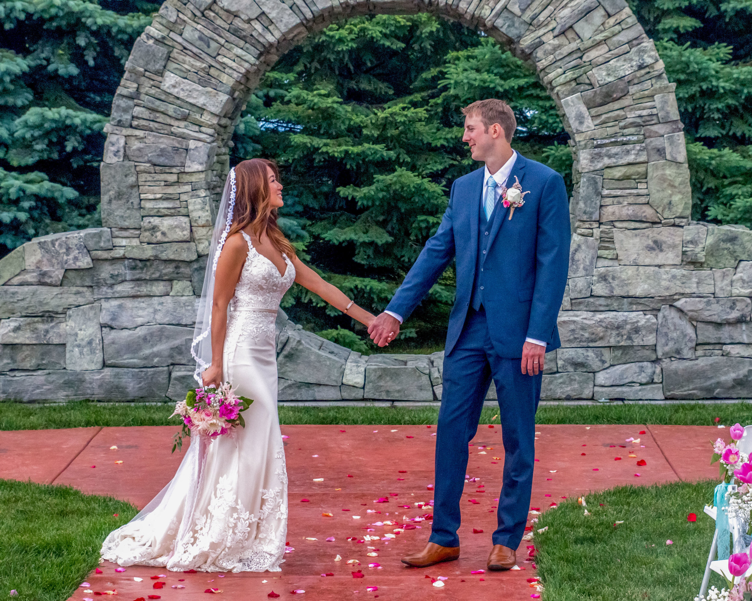 Minnesota Wedding at Glenhaven, outdoor ceremony, Fab Weddings, stone backdrop