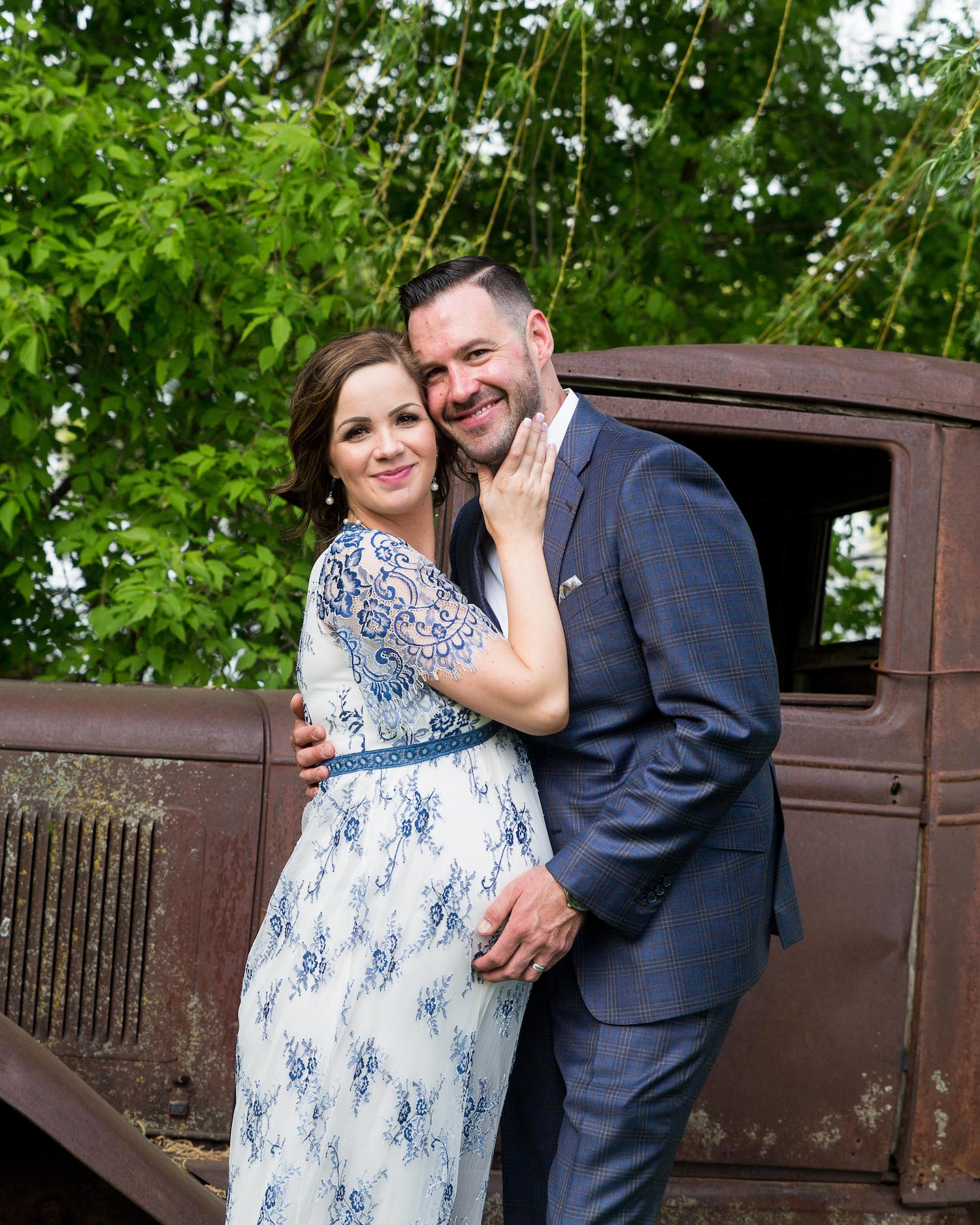 Cindyrella's Garden, pregnant bride in blue and white lace wedding dress, rusty truck