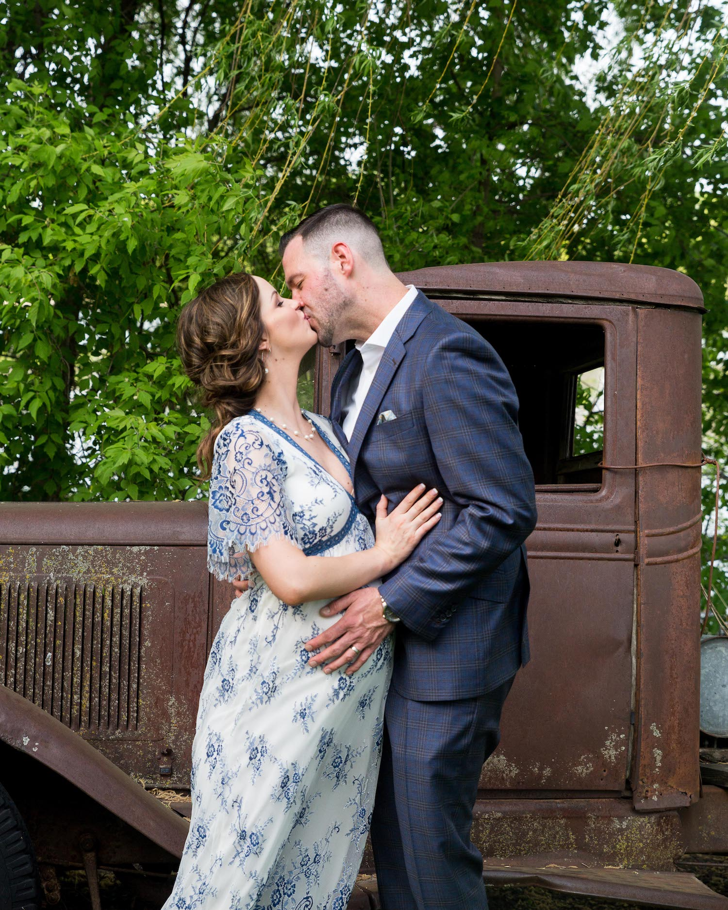 Cindyrella's Garden, pregnant bride in blue and white lace wedding dress, old rusted truck