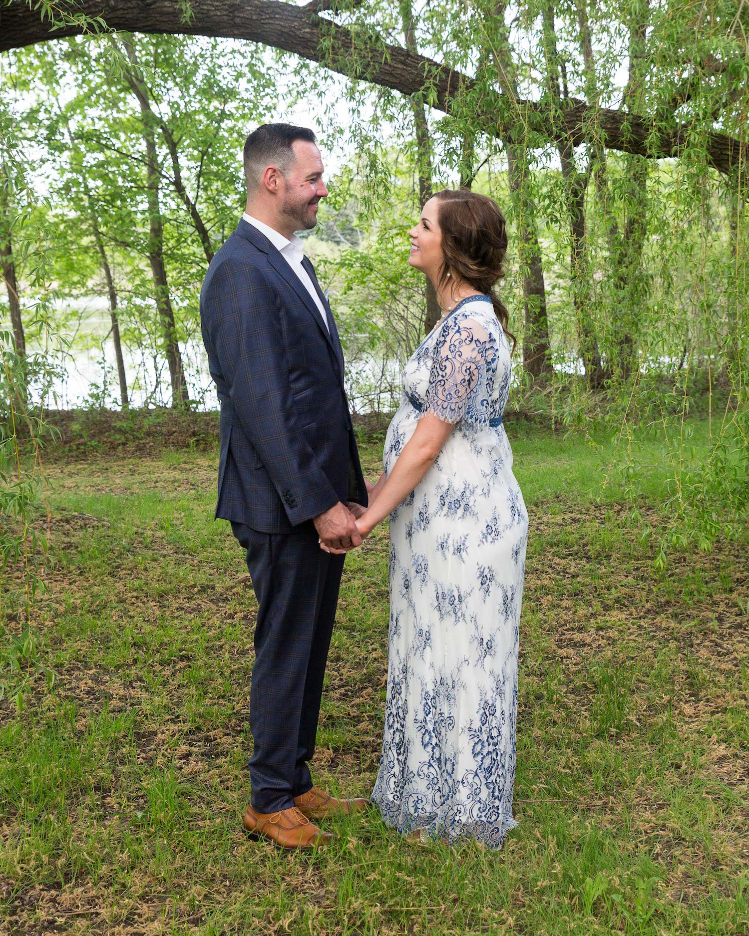 Cindyrella's Garden, pregnant bride in blue and white lace wedding dress, woods picture by the lake
