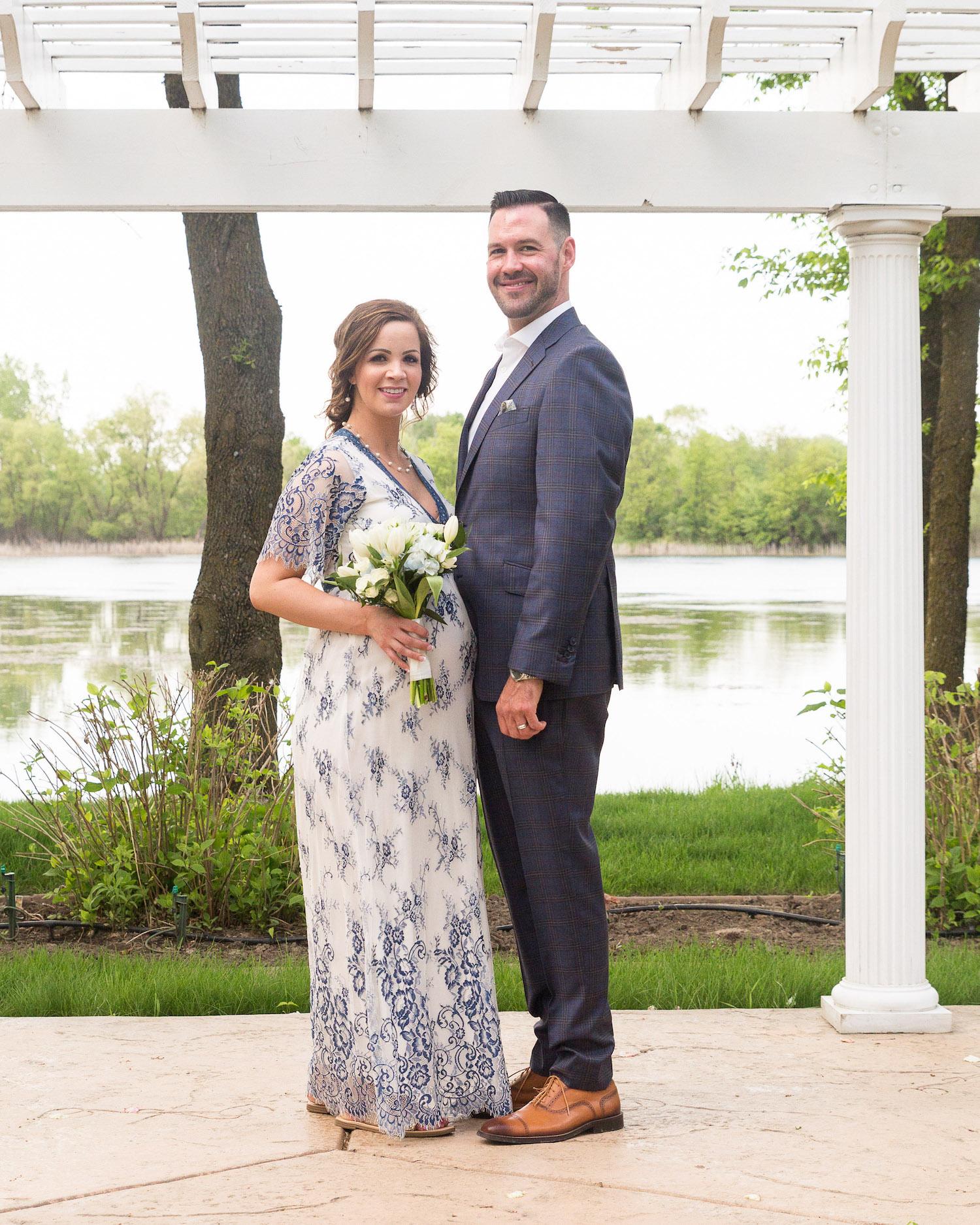 Cindyrella's Garden, pregnant bride in blue and white lace wedding dress, white bouquet