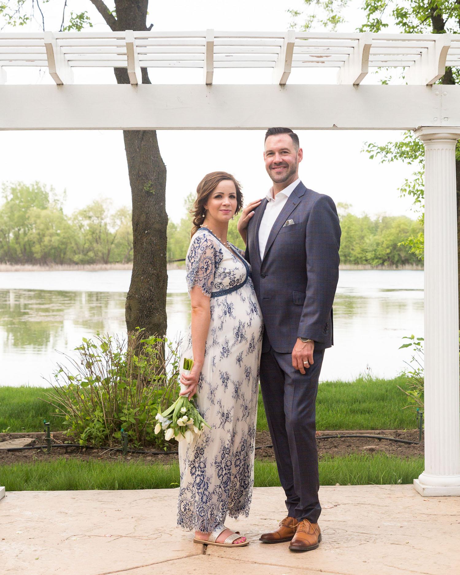 Cindyrella's Garden, pregnant bride in blue and white lace wedding dress,