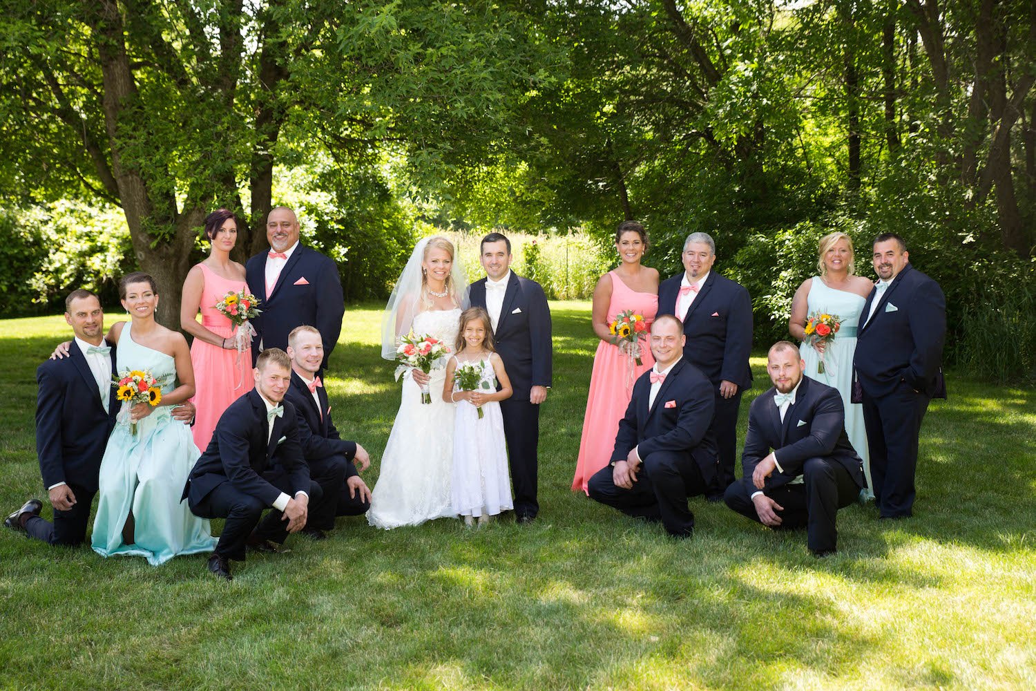 Cindyrellas Garden, outdoor lake ceremony in Minnesota, wedding party photo