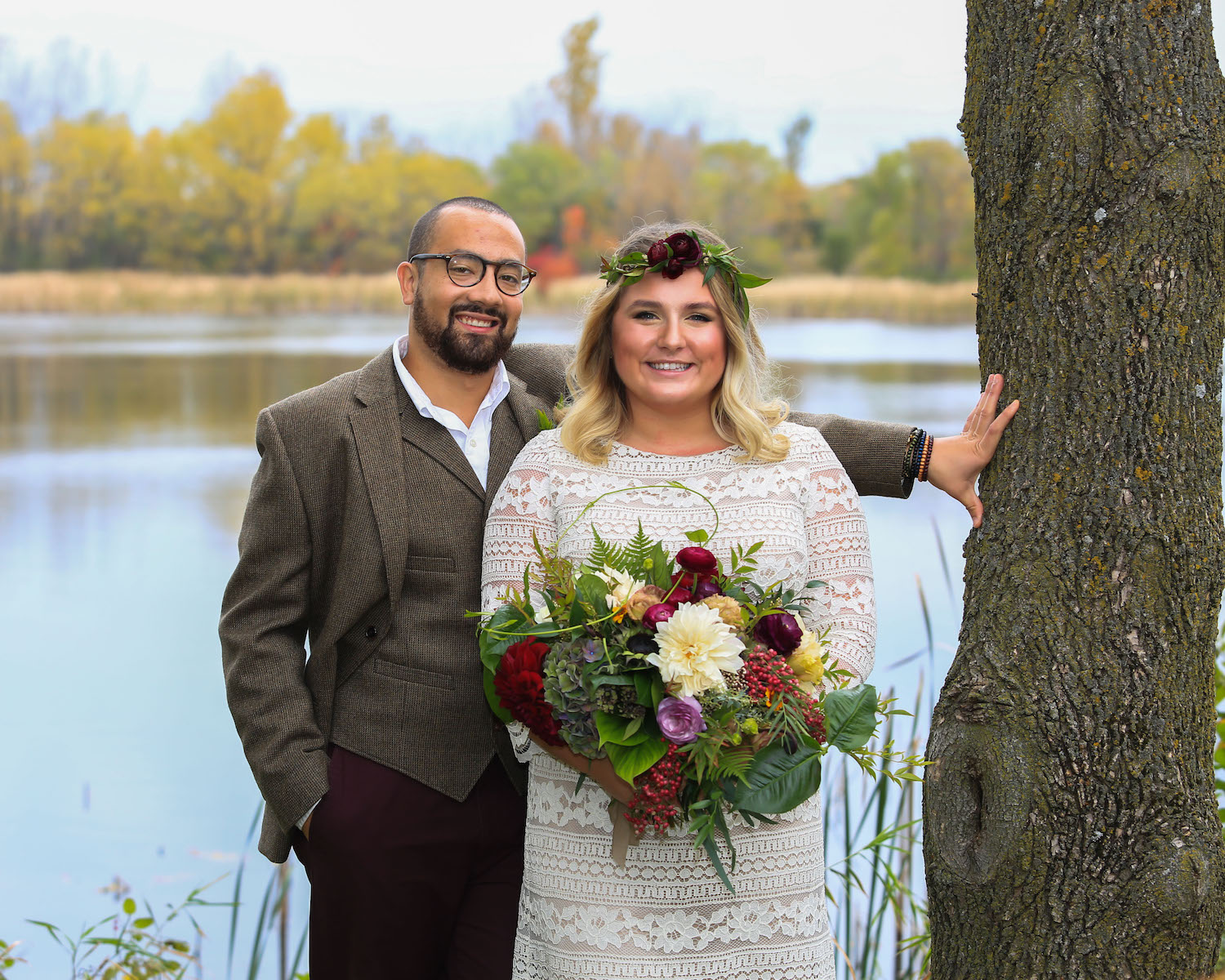 Cindyrella's Garden, outdoor ceremony on the lake in Minnesota, bearded groom