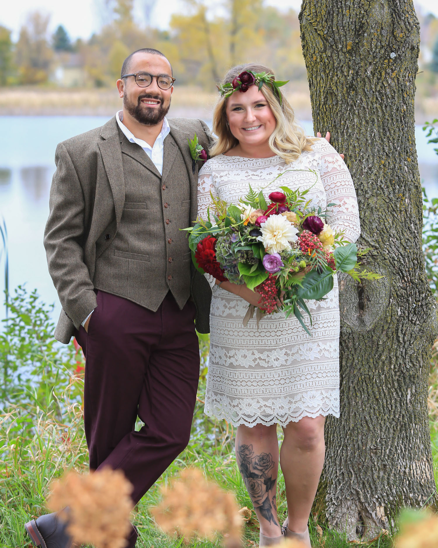 Cindyrella's Garden, outdoor ceremony on the lake in Minnesota, groom in tweed with burgundy pants