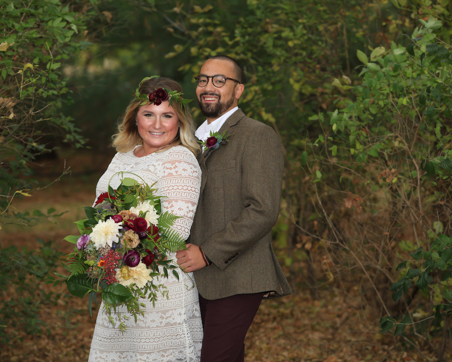 Cindyrella's Garden, outdoor ceremony on the lake in Minnesota, groom in glasses