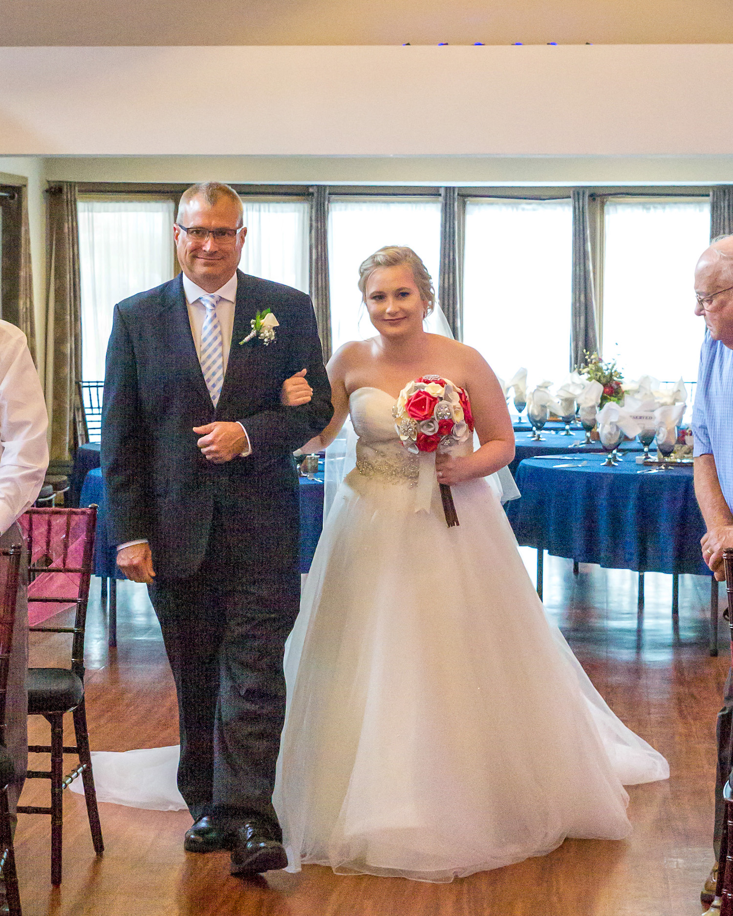Rosehenge wedding, Lakeville wedding venue, affordable wedding venue in south Minnesota, bride escorted by her father