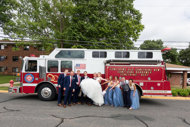 Rosehenge wedding, Lakeville wedding venue, affordable wedding venue in south Minnesota, fire truck photo