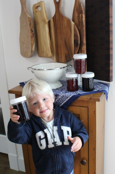 My wee garden helper and I made both the small batch raspberry jam, as well as the blueberry.