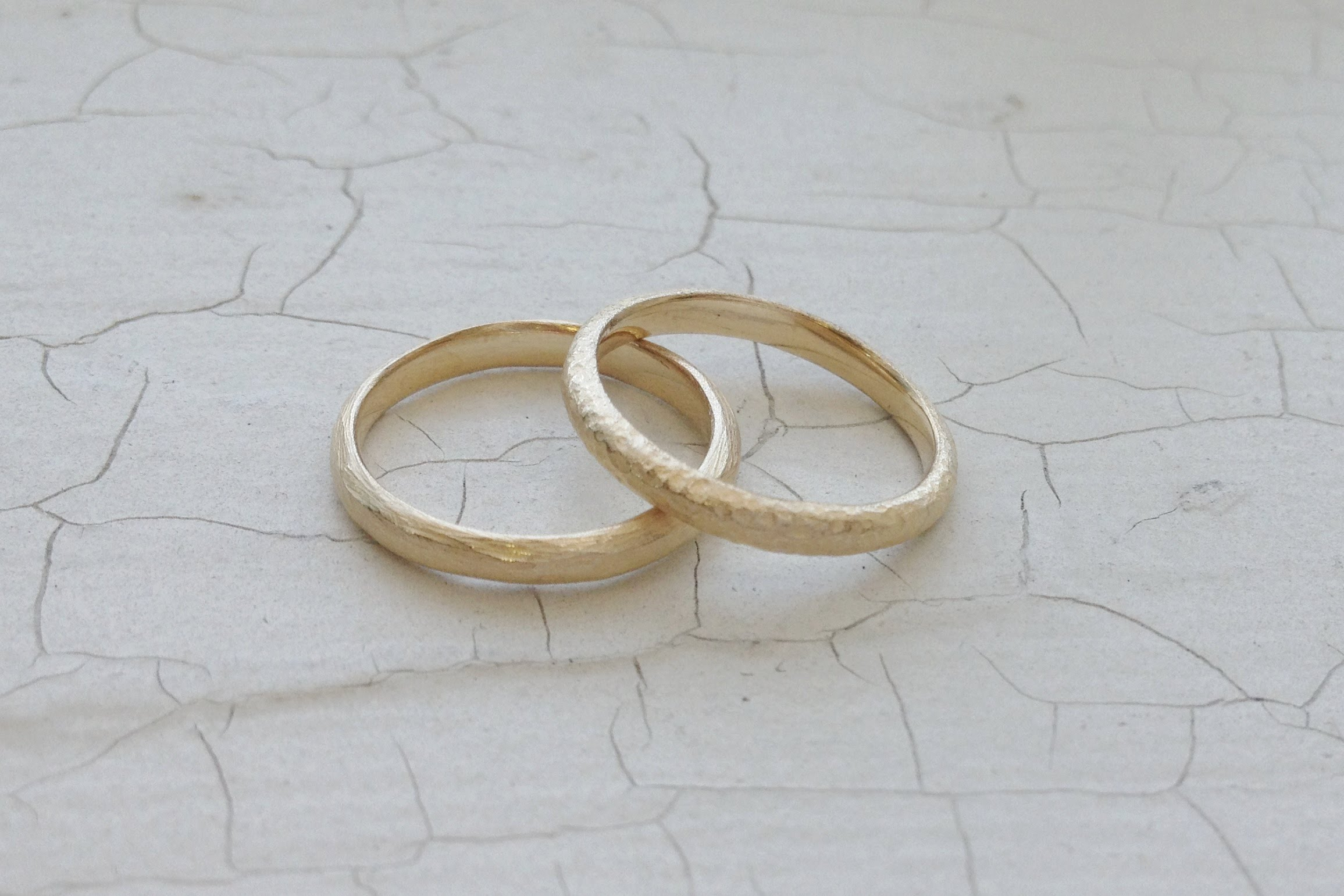 JAMIE + ASHLEY RINGS - driftwood and pebble texture, 14k yellow gold