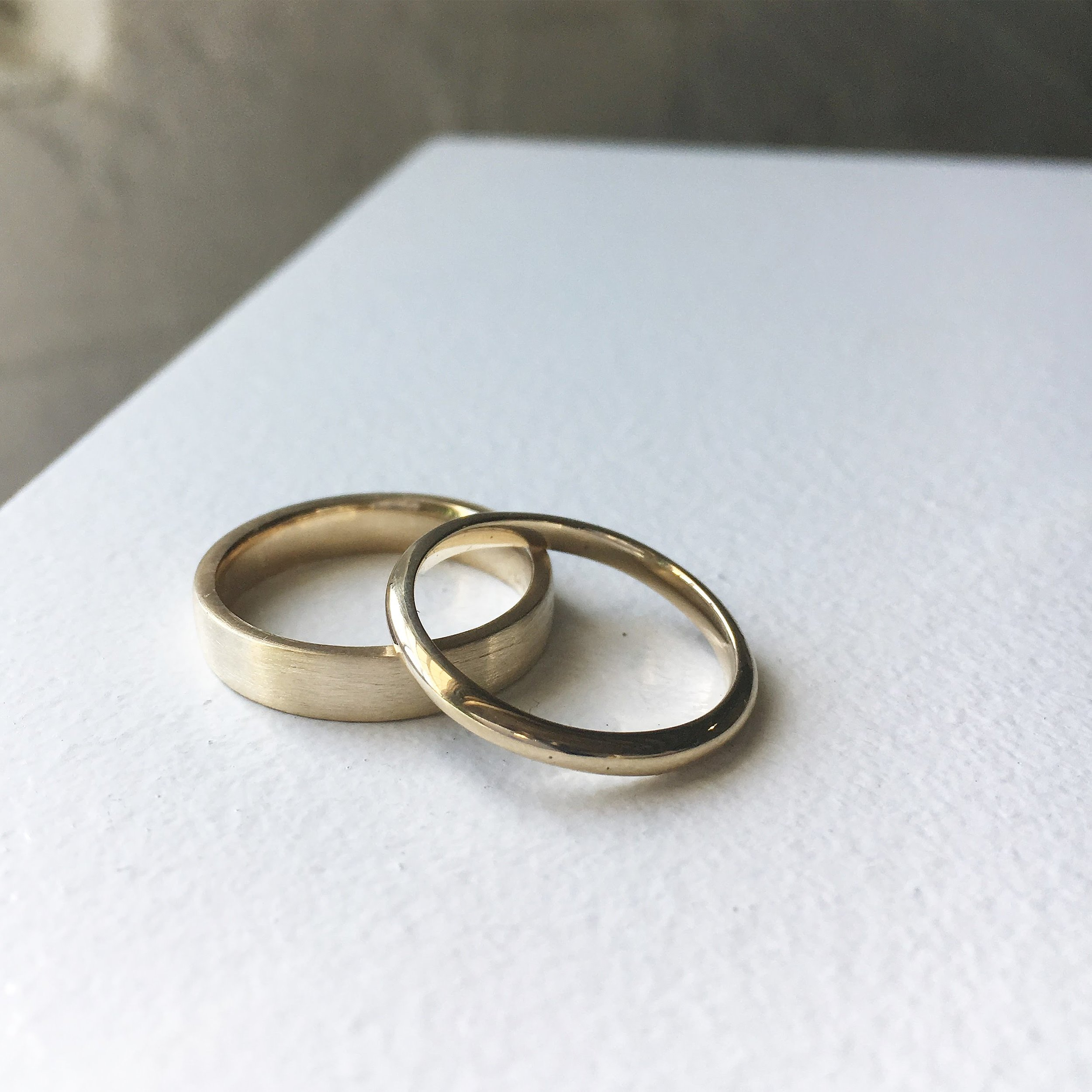 ROBYN + LAURA - 3mm flat band and thin round band, 14k yellow gold