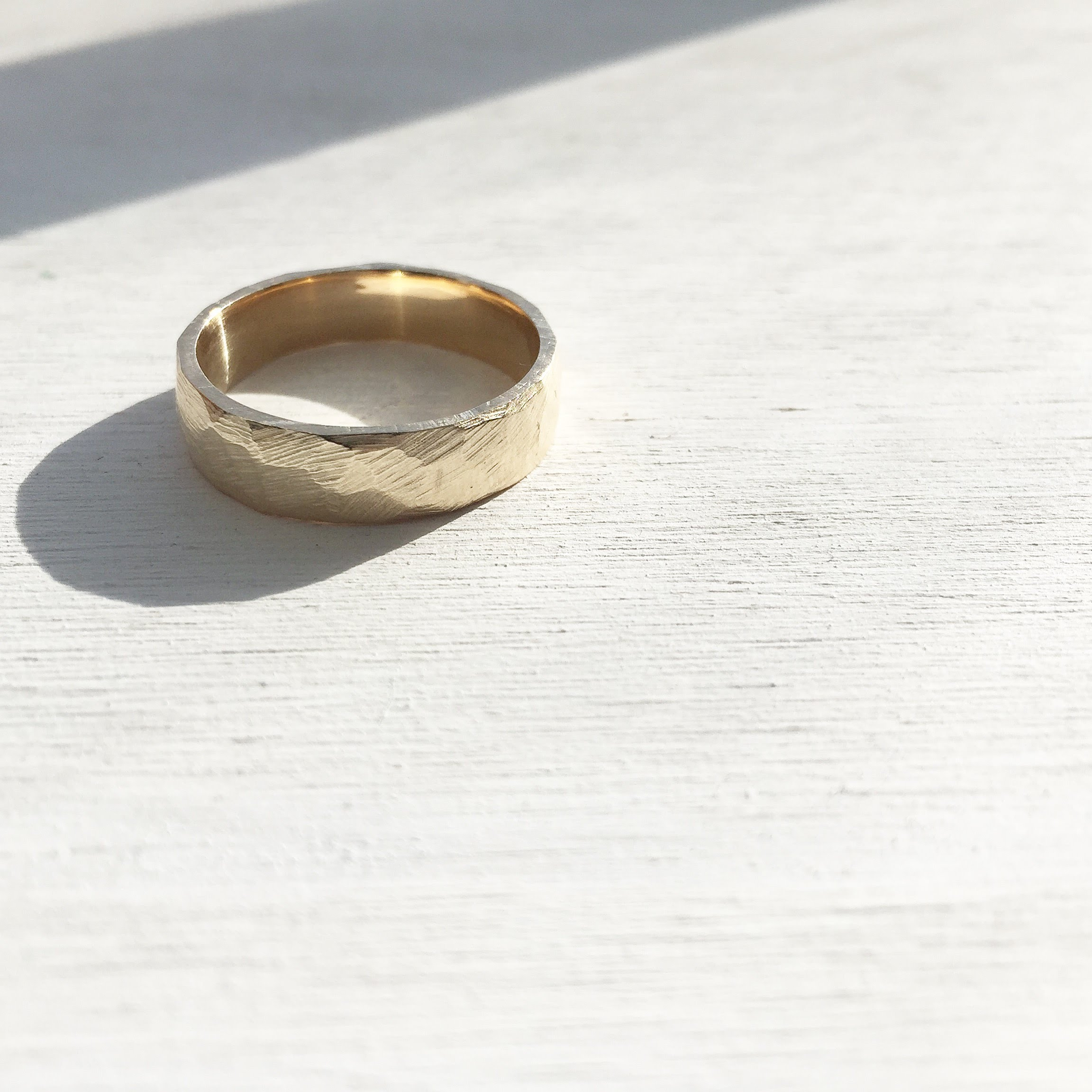 Faceted and textured band - 14k yellow gold