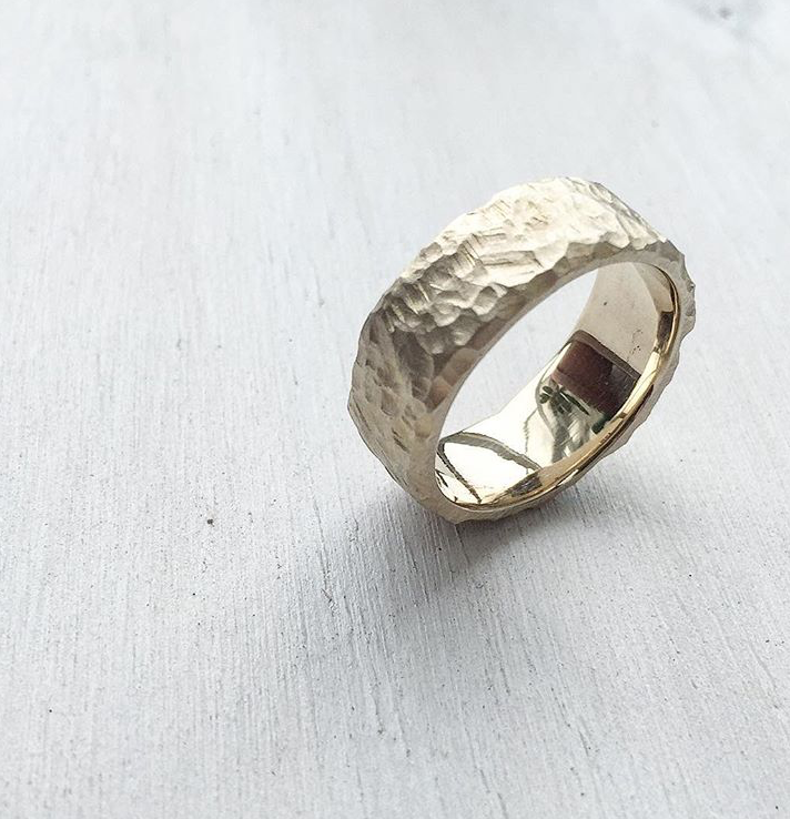 ALEX Ring - Heavy texture, comfort fit, 14k yellow gold