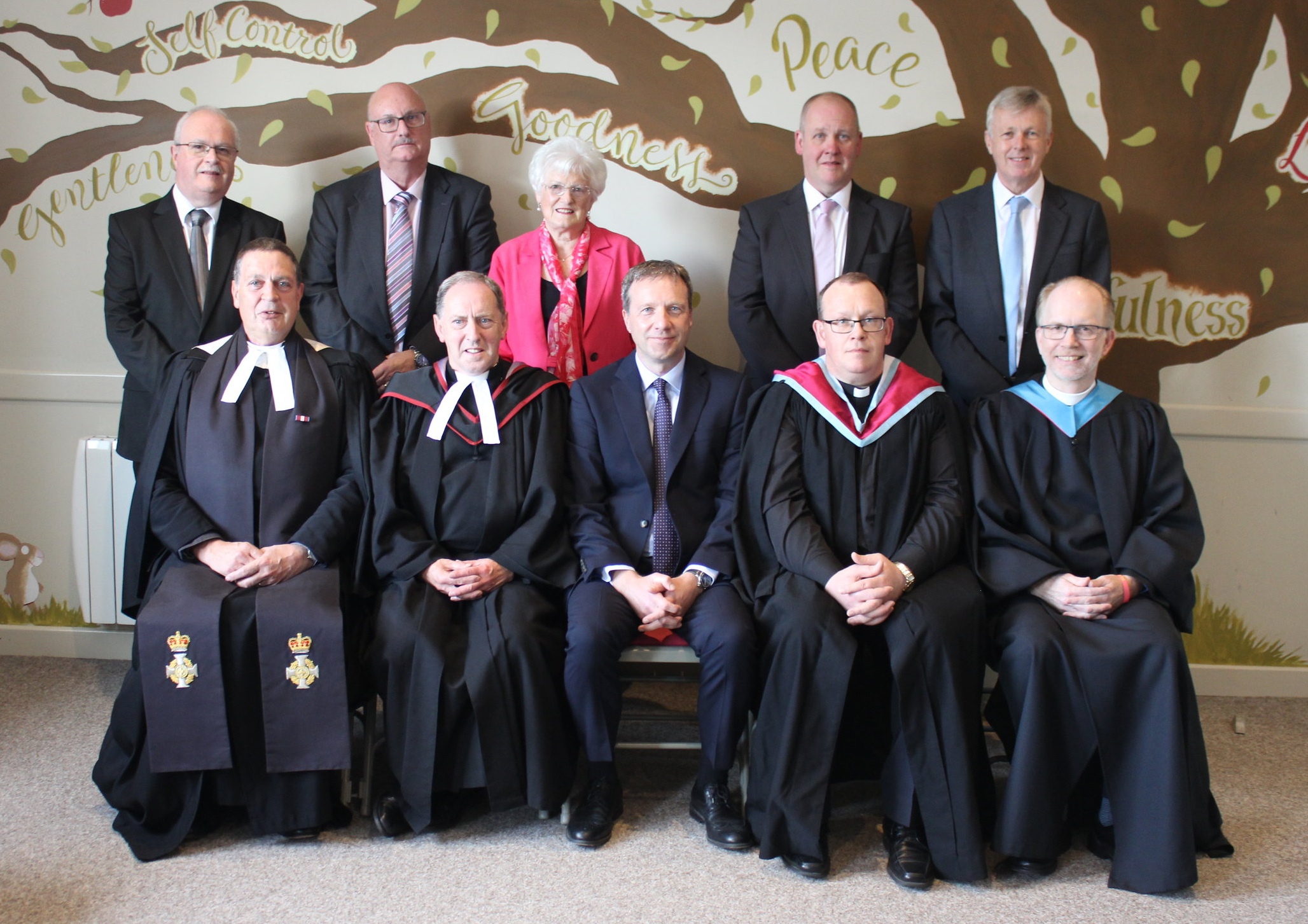 The Commission of Presbytery prior to the service. The front row (from left to right) is Rev Kenneth Crowe (Convener of the vacancy at First), Rev Noel McClean (Clerk of Presbytery), Rev Stephen McCracken, Rev Rodney Moody (Moderator of Presbytery), Rev Mark Jones. Neil Robinson, clerk of session at First Presbyterian, Ballymoney is in the back row at the far right.