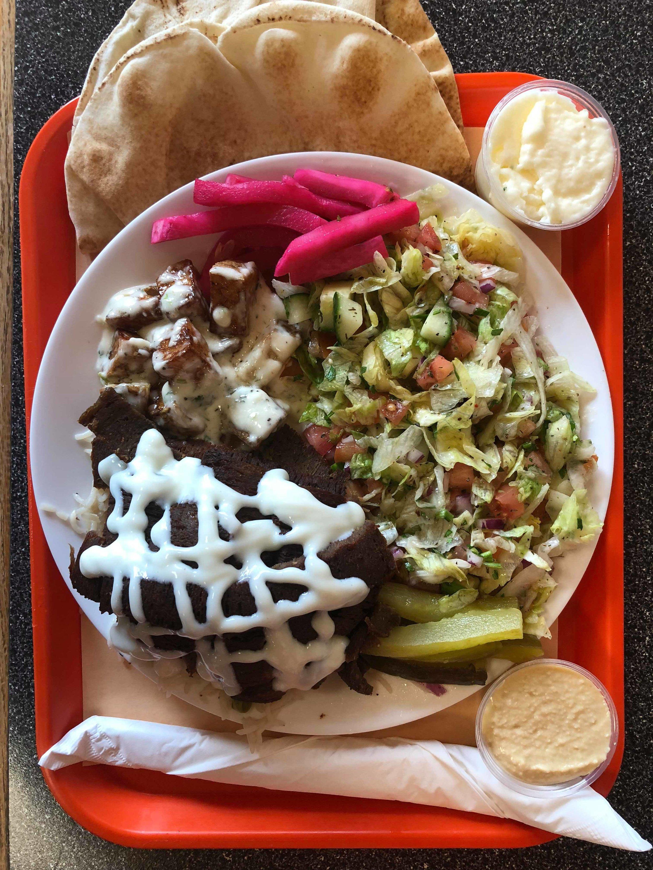 DINNERS - All Dinners include: Garlic Potatoes, Rice, Salad, Pita, Garlic & Hummus dipCHICKEN SHAWARMA - $14.49BEEF DONAIR - $13.49MIX PLATTER (Donair & Chicken) - $14.49FALAFEL - $13.49SOUVLAKI - $14.49