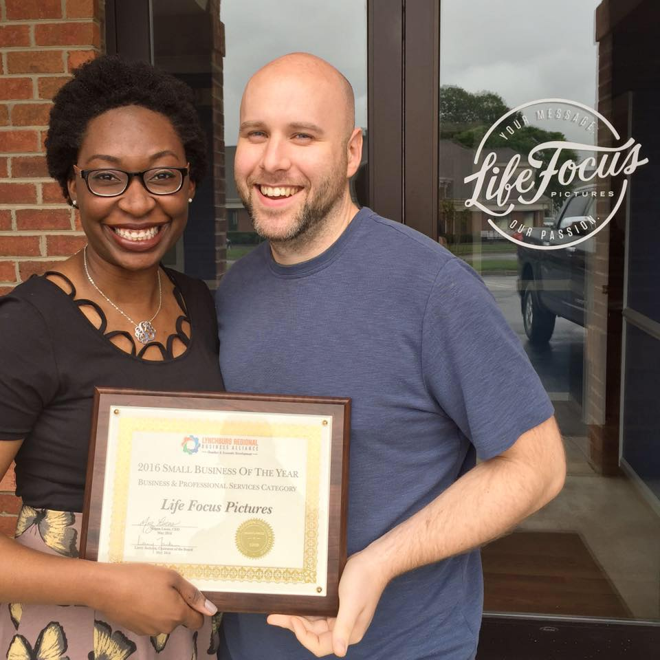 Josh & LaShonda Delivuk with the 2016 Small Business of the Year Award