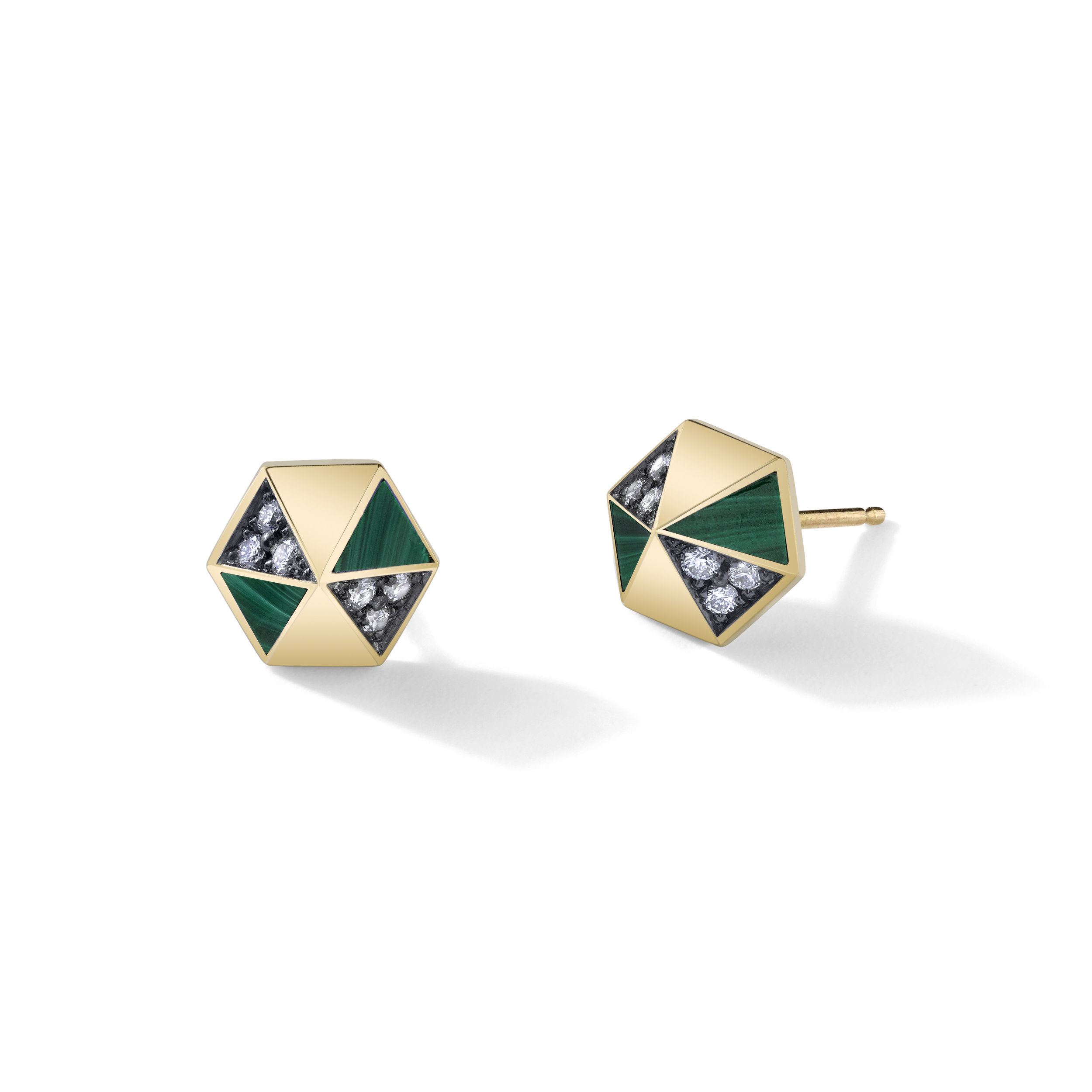 These Harwell Godfrey pyramid studs in 18K yellow gold inlaid malachite and diamonds are chic, effortless and current, all at the same time. You can wear them alone or if you have multiple piercings in your lobes, you can wear them with simple diamond or emerald studs in different stones cuts for a more creative vibe.