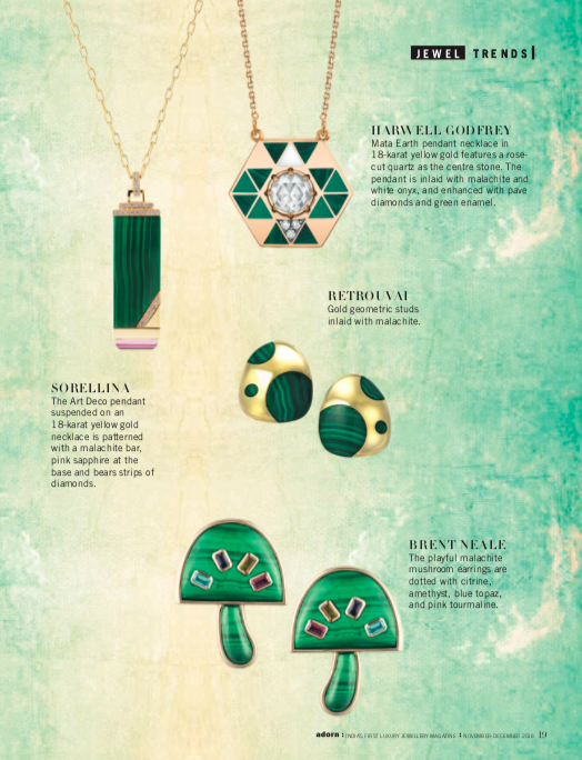 HARWELL GODFREY Mata Earth pendant necklace in 18-karat yellow gold features a rose- cut quartz as the centre stone. The pendant is inlaid with malachite and white onyx, and enhanced with pave diamonds and green enamel.