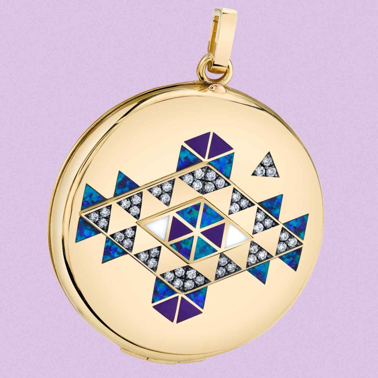 Harwell Godfrey gold, opal, onyx, pavé diamond and enamel Vida Fire locket with solid perfume, $14,500