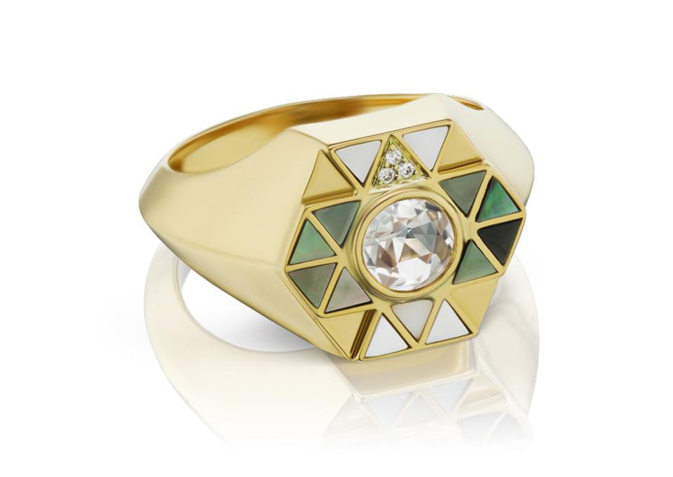 Harwell Godfrey signet ring in Mother of Pearl and rock crystal