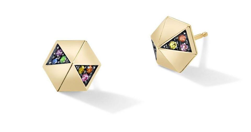 HARWELL GODFREY  Rainbow Sapphire Hexagon Studs in 18k yellow gold, $790.  Harwellgodfrey.com
