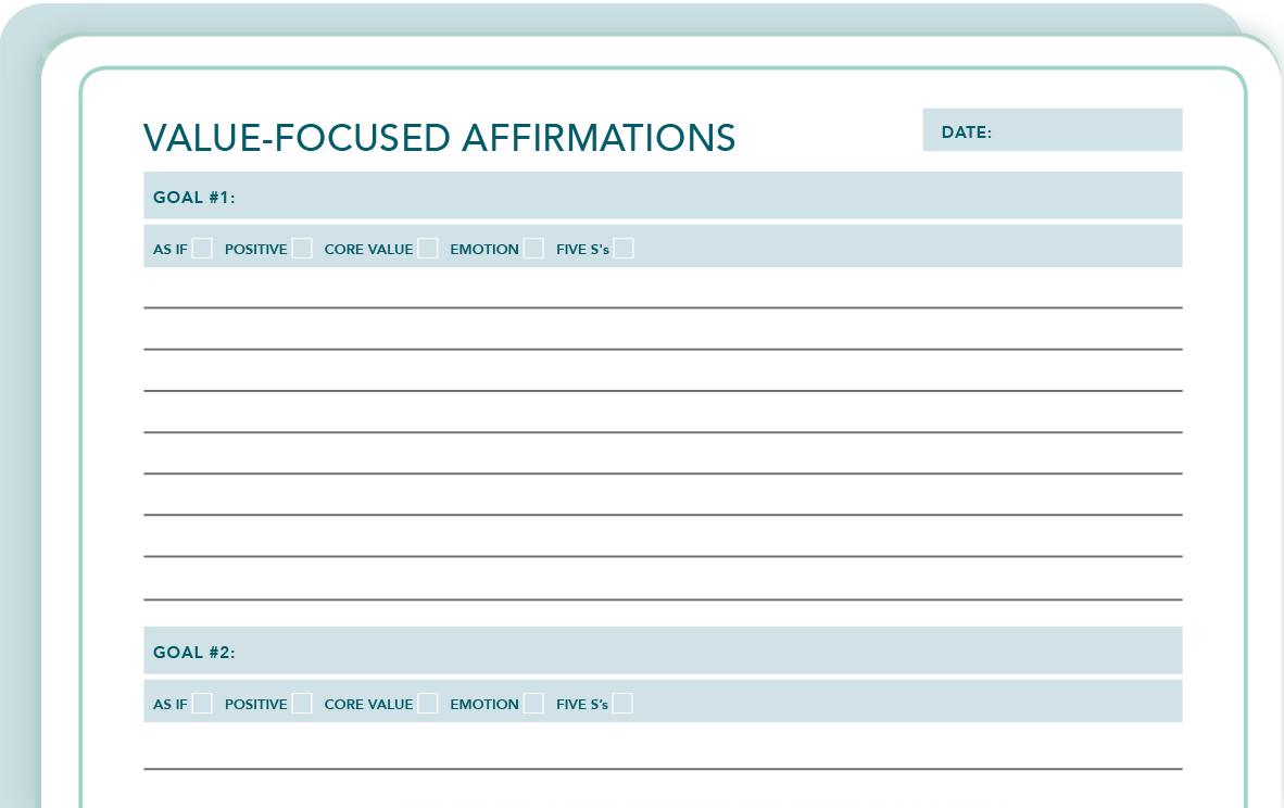 Value-Focused Affirmations Worksheet -