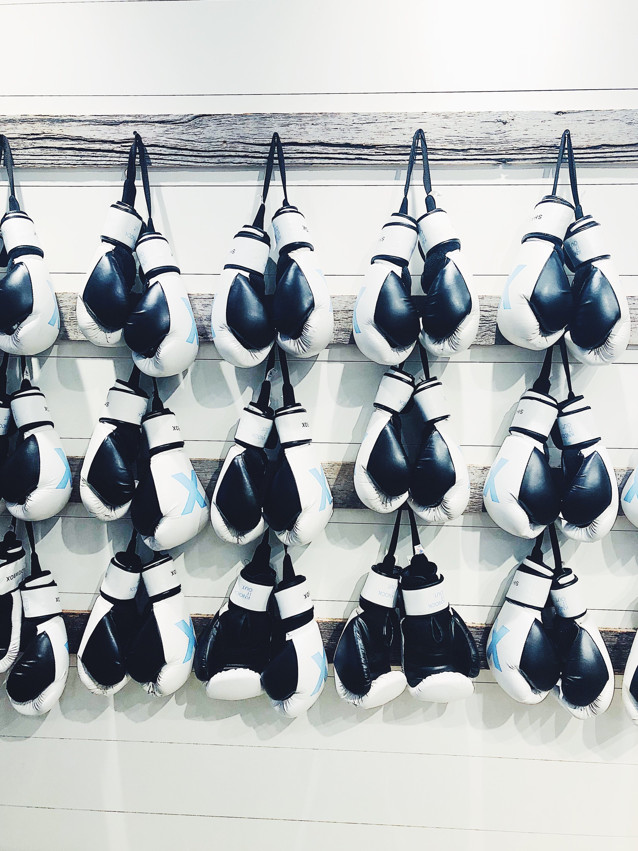 The wall of boxing gloves at shadowbox in new york and dumbo.